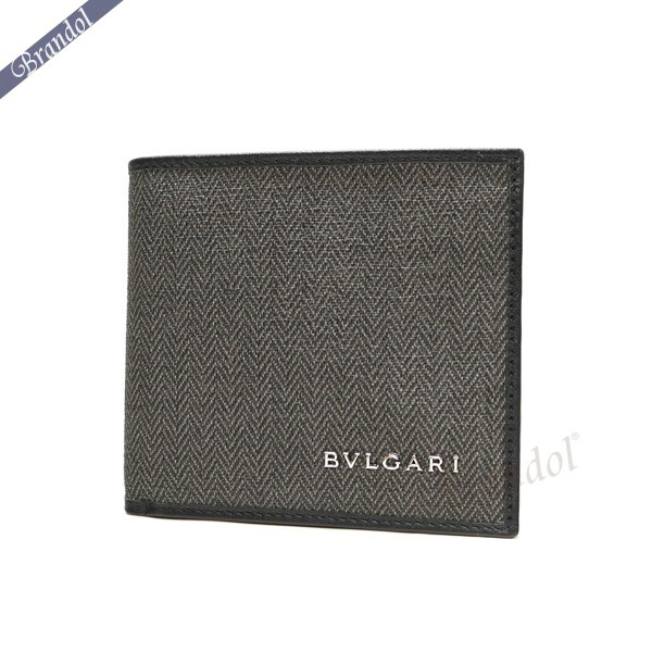ブルガリ メンズ 二つ折財布 WEEKEND ウィークエンド キャンバス グレー系 32581