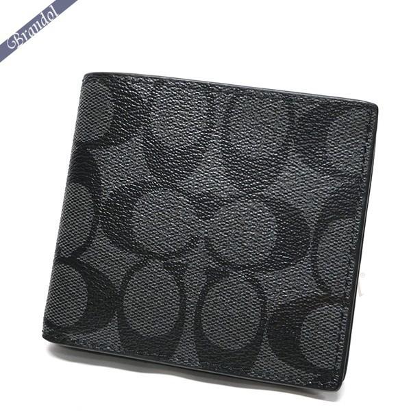 コーチ メンズ 二つ折財布 シグネチャー ブラック系 F75006 CQ/BK 【コーチアウトレット】【ブランド】