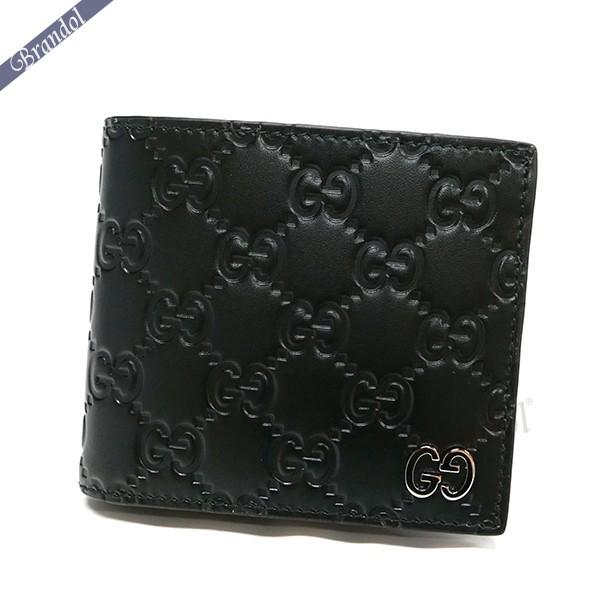 グッチ メンズ 二つ折財布 シグネチャー レザー ブラック 473922 CWC1N 1000