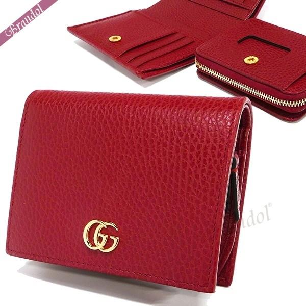 グッチ レディース 二つ折財布 プチ マーモント レザー 脱着式コインケース カードケース レッド 546586 CAO0G 6433 | ブランド 母の日 普段使い