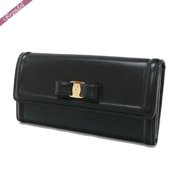 フェラガモ レディース 長財布 ヴァラリボン レザー パスケース付 ブラック 22 D154 0683509 | ブランド 母の日 普段使い
