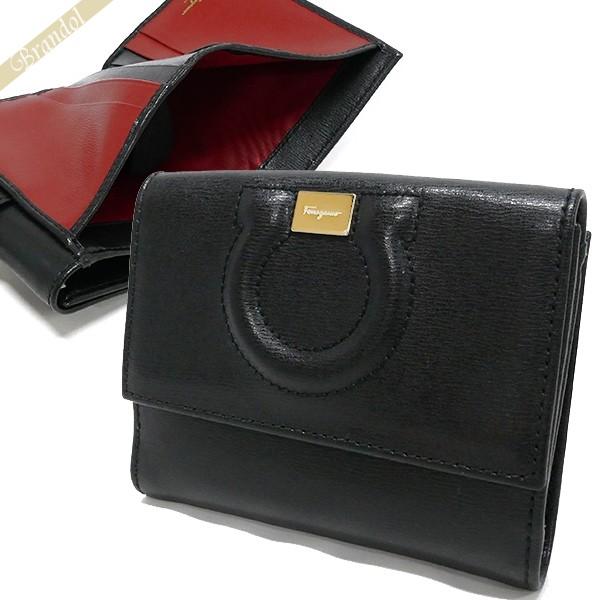 フェラガモ レディース 二つ折財布 レザー ガンチーニ ブラック 22 C844 0684441