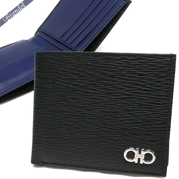 フェラガモ メンズ 二つ折財布 ダブルガンチーニ レザー ブラック×ネイビー 66 A065 0685987