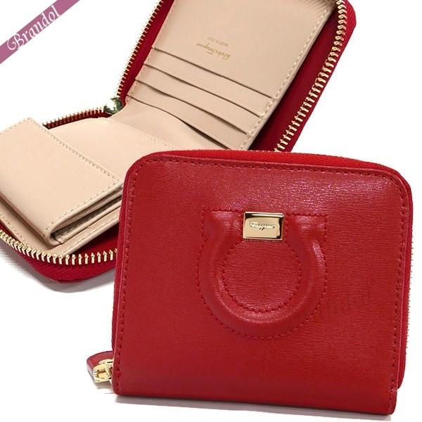 フェラガモ レディース 二つ折財布 レザー ガンチーニ ラウンドファスナー ミニ財布 レッド×ベージュ 22 D201 0683648 | ブランド 母の日 普段使い