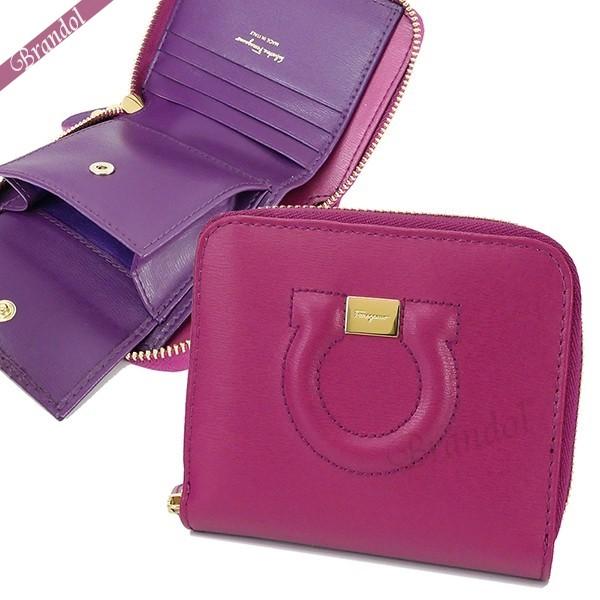 フェラガモ レディース 二つ折財布 レザー ガンチーニ ラウンドファスナー ミニ財布 ピンク×パープル 22 D201 0714811   ブランド 母の日 普段使い