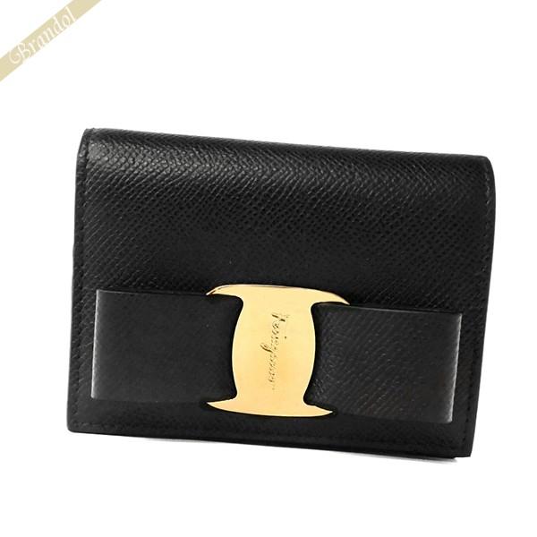 フェラガモ レディース 二つ折財布 ヴァラリボン レザー ブラック 22 D515 0725300 | ブランド 母の日 普段使い