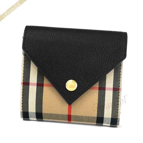 バーバリー レディース 二つ折財布 ヴィンテージチェック ベージュ系×ブラック 8026114 | ブランド 母の日 普段使い