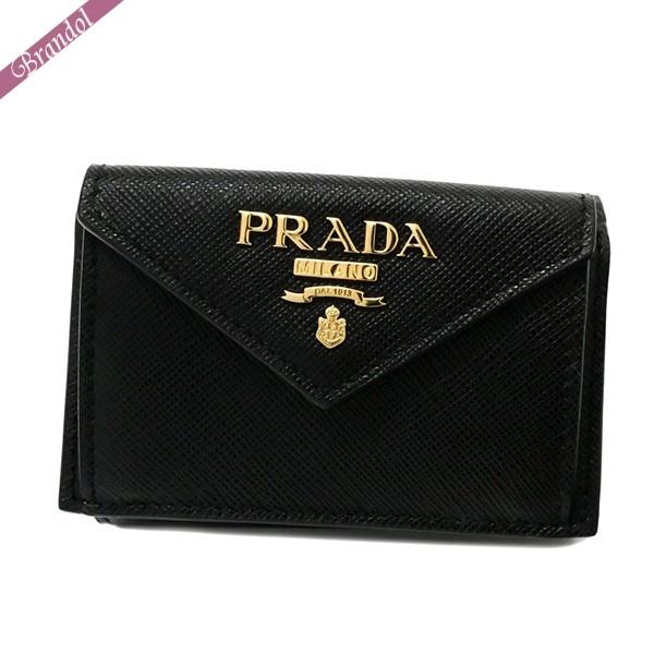 プラダ レディース 三つ折り財布 レザー ミニ財布 ブラック 1MH021 QWA F0002 | ブランド 母の日 普段使い