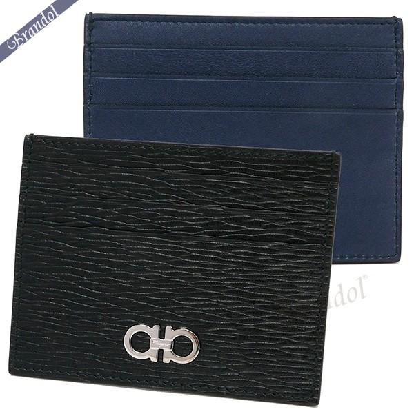 フェラガモ メンズ カードケース ガンチーニ レザー カード入れ ブラック×ブルー 66 A302 0698915