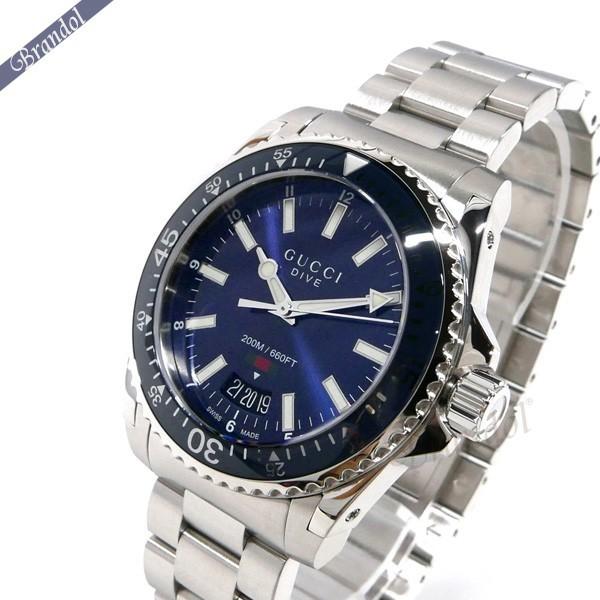 グッチ メンズ腕時計 DIVE ダイブ 40mm ブルー×シルバー YA136311