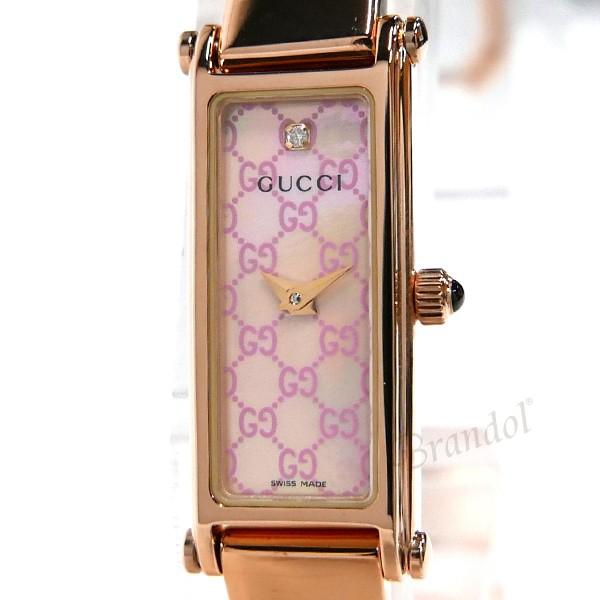 グッチ レディース レディース腕時計 1500 バングルウォッチ ダイヤモンド ピンクシェル×ローズゴールド YA015559