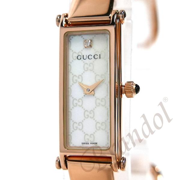 グッチ レディース腕時計 1500 バングルウォッチ ダイヤモンド ホワイトシェル×ローズゴールド YA015560