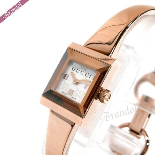 グッチ レディース腕時計 Gフレーム G-Frame スクエア バングルウォッチ ホワイトシェル×ローズゴールド YA128517 【xcp2】