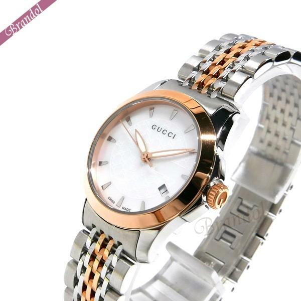 グッチ レディース腕時計 Gタイムレス G-Timeless 27mm ホワイトシェル××シルバー×ピンクゴールド YA126537 【ブランド】