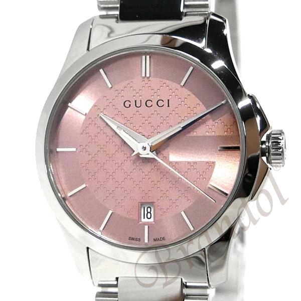 グッチ レディース腕時計 Gタイムレス 27mm ピンク×シルバー YA126524