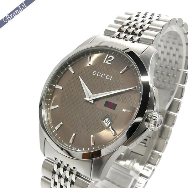 《800円OFFクーポン対象》グッチ メンズ腕時計 Gタイムレス G-Timeless 42mm ブラウン×シルバー YA126310