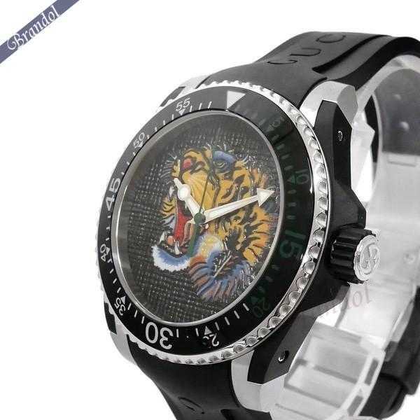 《1300円OFFクーポン対象!5/6(水)23:59まで》グッチ メンズ腕時計 DIVE ダイブ タイガー トラモチーフ 42mm ブラック×グリーン YA136318