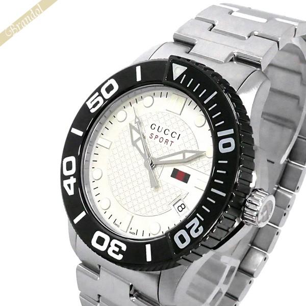 《800円OFFクーポン対象!8/16(日)23:59まで》グッチ GUCCI メンズ腕時計 DIVER ダイバー 45mm ホワイト×ブラック×シルバー YA126280 | ブランド