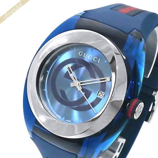 《1300円OFFクーポン対象!5/6(水)23:59まで》GUCCI グッチ メンズ腕時計 SYNC グッチシンク 46mm ブルー YA137104A