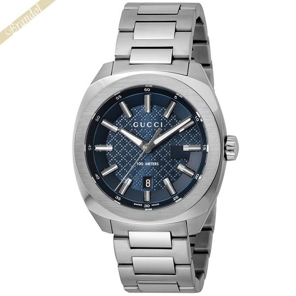 《1300円OFFクーポン対象!5/6(水)23:59まで》グッチ メンズ腕時計 GG2570 40mm ブルー×シルバー YA142314