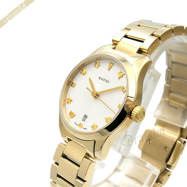 《800円OFFクーポン対象!8/16(日)23:59まで》グッチ GUCCI レディース腕時計 Gタイムレス G-Timeless 27mm ホワイト×ゴールド YA126576 | ブランド