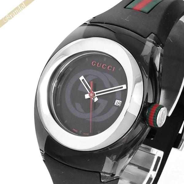 《1000円OFFクーポン対象!1/6 23:59まで》GUCCI グッチ メンズ腕時計 SYNC グッチシンク 36mm ブラック×グリーン×レッド YA137301
