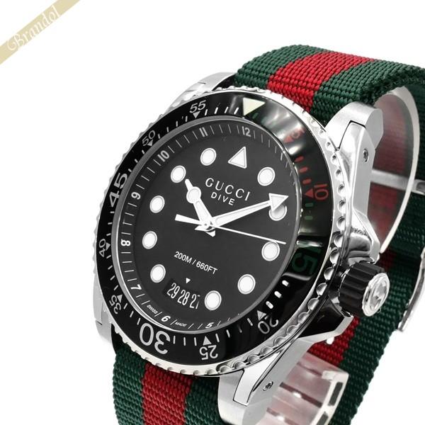 《800円OFFクーポン対象!8/16(日)23:59まで》グッチ GUCCI メンズ腕時計 DIVE ダイブ 45mm ブラック×グリーン×レッド YA136209A | ブランド