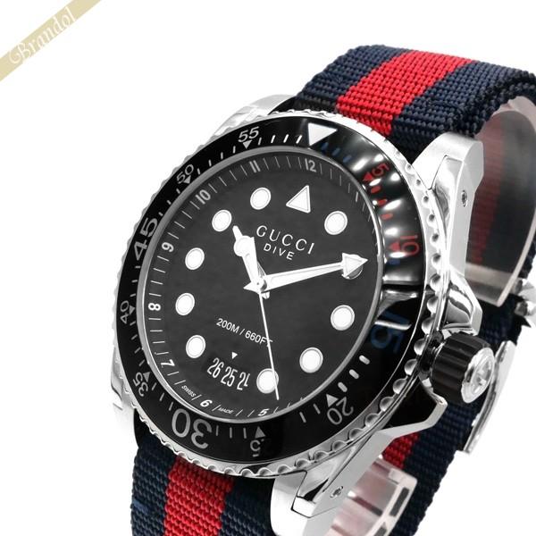 《1300円OFFクーポン対象!5/6(水)23:59まで》グッチ メンズ腕時計 DIVE ダイブ 45mm ブラック×ネイビー×レッド YA136210
