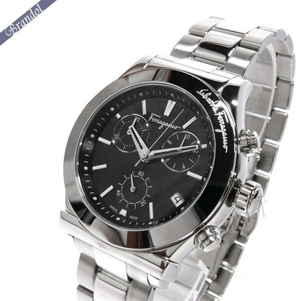 フェラガモ メンズ腕時計 Vega ベガ クロノグラフ 41mm ブラック×シルバー FH6010016