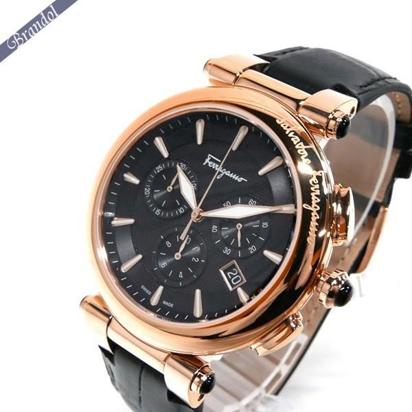 フェラガモ メンズ腕時計 イディリオ クロノグラフ 42mm ブラック×ローズゴールド FCP060017 【ブランド】