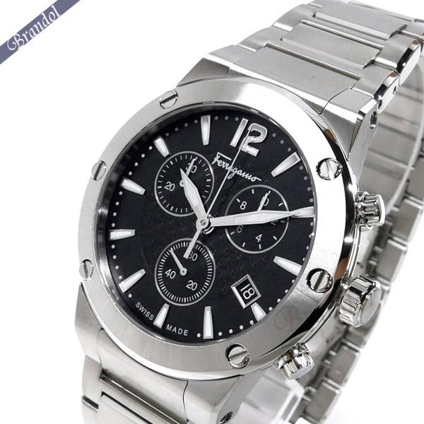 《最大1500円クーポン配布中! 7/26 01:59まで》フェラガモ メンズ腕時計 F-80 クロノグラフ 44m ブラック×シルバー FIJ050017