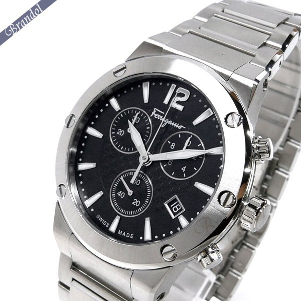 f64a0359da フェラガモメンズメンズ腕時計F-80クロノグラフ44mブラック×シルバーFIJ050017【xcp1 ...