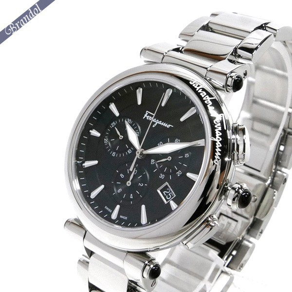 フェラガモ メンズ腕時計 イディリオ クロノグラフ 42mm シルバー×ブラック FCP070017 【ブランド】