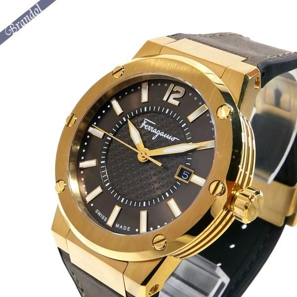 《800円OFFクーポン対象!8/16(日)23:59まで》フェラガモ Ferragamo メンズ腕時計 F-80 デイト 44mm ブラウン×ゴールド FIF060016 | ブランド