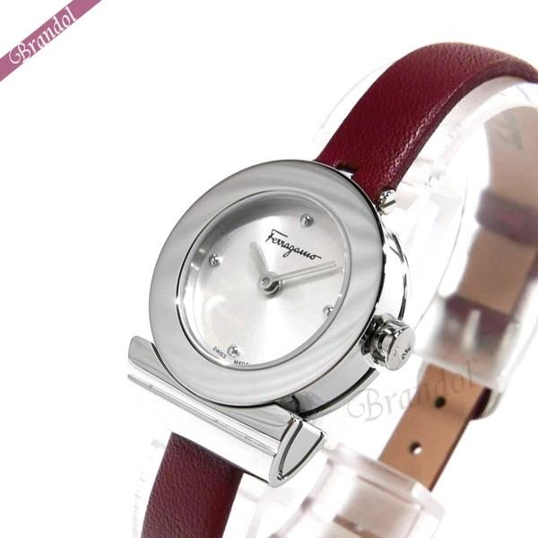 フェラガモ レディース腕時計 Gancino ガンチーニ 22mm シルバー×ボルドー F43040017