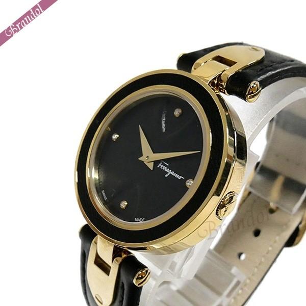 《1000円OFFクーポン対象!1/6 23:59まで》フェラガモ レディース腕時計 Gilio 32mm ブラック×ゴールド FIW010017