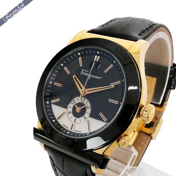 《1300円OFFクーポン対象!5/6(水)23:59まで》フェラガモ メンズ腕時計 1898 40mm ブラック×ゴールド FFO020017