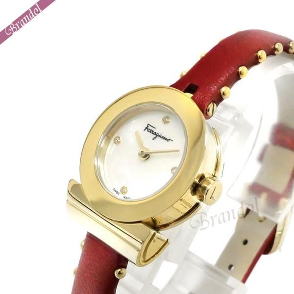 《1000円OFFクーポン対象!1/6 23:59まで》フェラガモ レディース腕時計 Gancino ガンチーニ 22mm ホワイトパール×レッド×ゴールド SF4300518