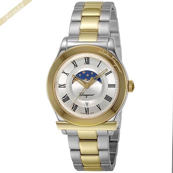 《800円OFFクーポン対象!8/16(日)23:59まで》フェラガモ Ferragamo メンズ腕時計 1898 ムーンフェイズ 40mm シルバー×ゴールド FBG100017 | ブランド