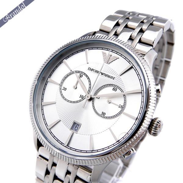 《600円OFFクーポン対象!5/6(水)23:59まで》エンポリオアルマーニ メンズ腕時計 クラシック クロノグラフ 43mm シルバー AR1796