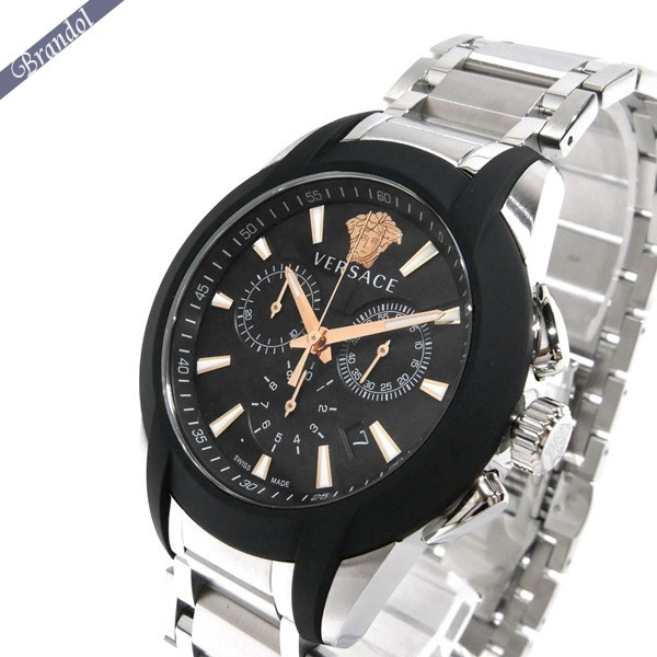 《最大1500円クーポン配布中! 7/26 01:59まで》ベルサーチ メンズ腕時計 キャラクタークロノ 42mm ブラック×シルバー VEM800218