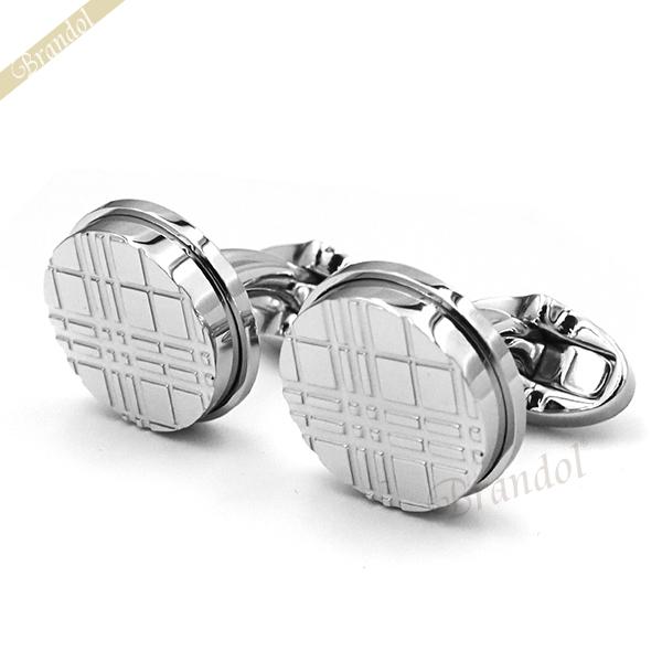 【送料無料】 BURBERRY 男性用 カフスボタン シンプル 贈り物 ギフト バーバリー BURBERRY メンズ カフスボタン チェック柄 円形 シルバー 8015270 | ブランド