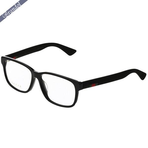 グッチ メンズ メガネフレーム ウェリントン型 セルフレーム ウェブモチーフ ブラック GG0011OA-001