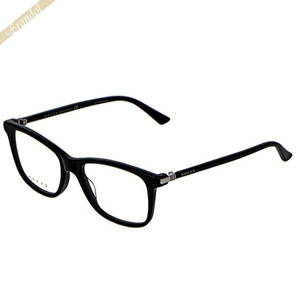 《2000円OFF!GUCCIアイウェア全品対象!5/16(土)01:59まで》グッチ GUCCI メンズ メガネフレーム ウェリントン型 セルフレーム ブラック GG0018O-001 | ブランド