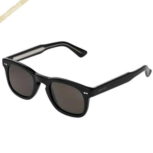 グッチ メンズ サングラスレーム ウェリントン型 セルフレーム グレーレンズ×ブラック GG0182S-001