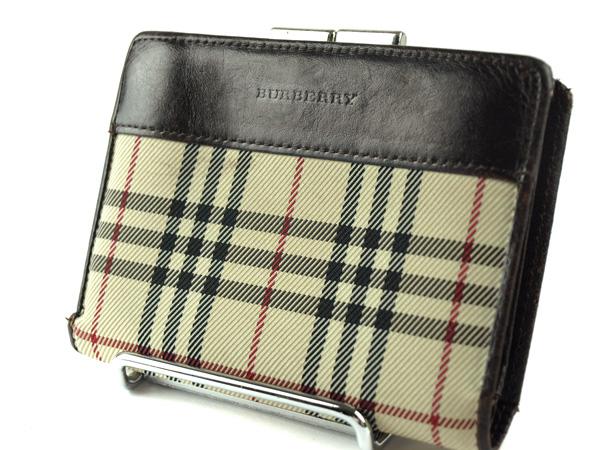 -BURBERRY- バーバリー がま口2つ折り財布【ブラウンチェック】【中古】