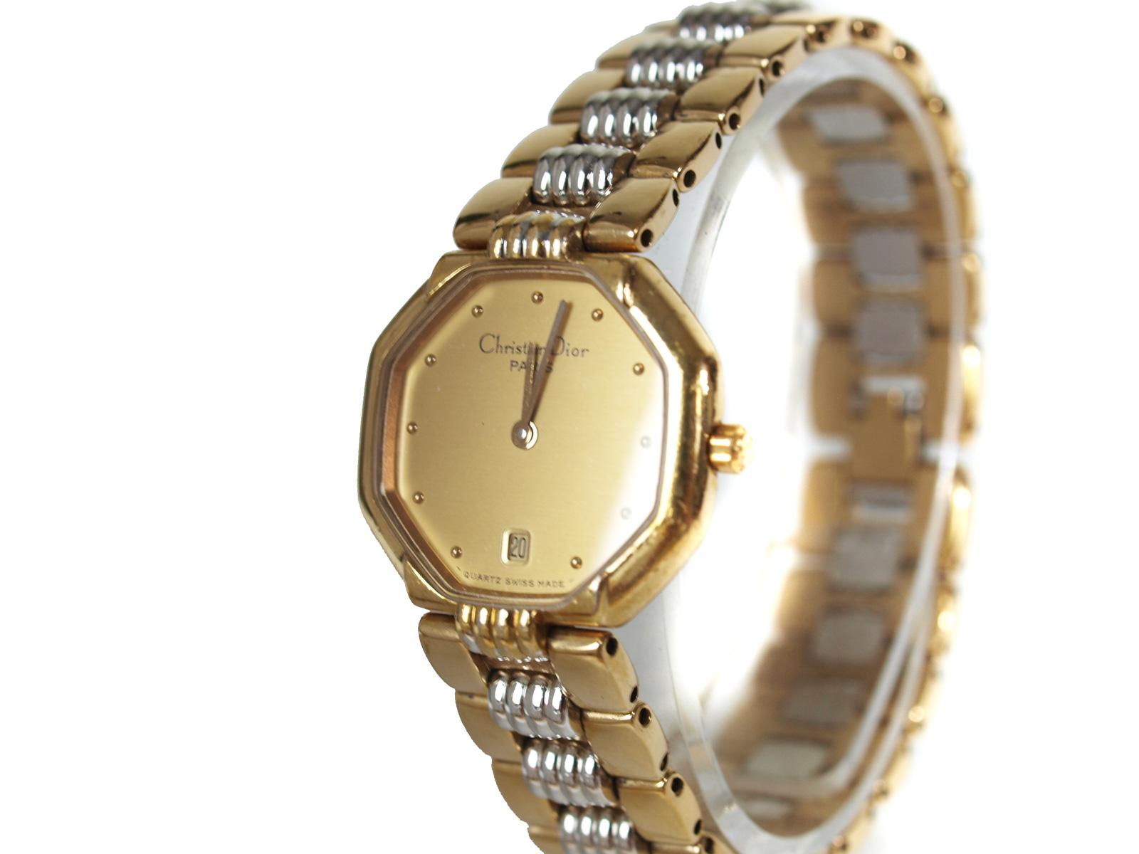 -Christian Dior- ディオール スイングウォッチ【48.122】【レディース】【ゴールド・シルバ】【中古】