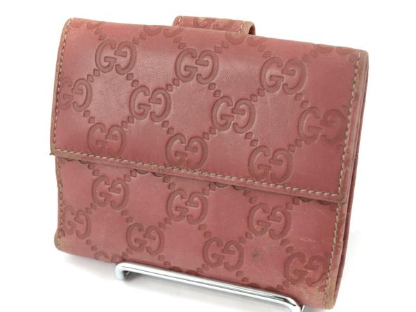 -Gucci- グッチ シマ レザー Wホック二つ折り財布【レディース】【ピンク】【中古】