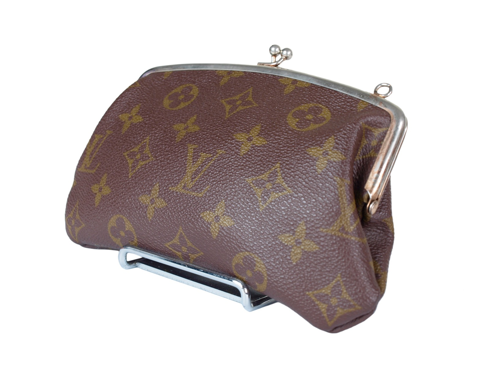 -Louis Vuitton- ルイヴィトン Monogram Canvas Accessories Purse Metal Clasp モノグラム がま口 クラッチ バッグ 化粧 ポーチ サブバッグ【レア】【中古】