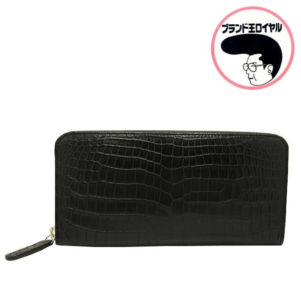 社長も愛用 5☆大好評 縁起の良いクロコダイル 高級クロコダイル財布 ラウンドファスナー マットクロコ まとめ買い特価 黒